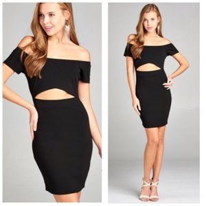Black Off The Shoulder Cut Out Dress